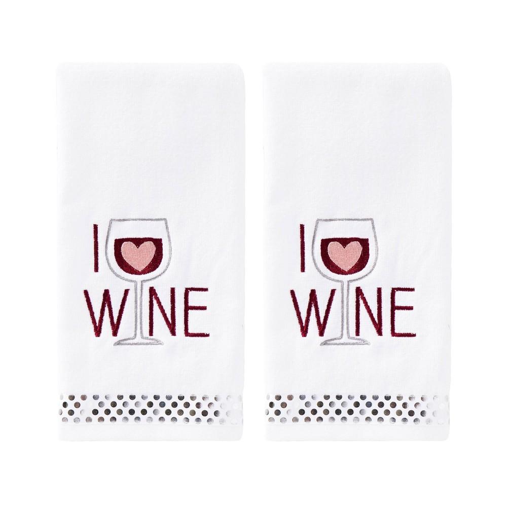 Image of 2pc I Love Wine Hand Towel Set White - SKL Home