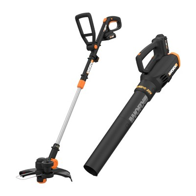 Worx WG930.2 POWER SHARE 20V Cordless Lit-Ion 10 in String Trimmer and Leaf Blower Combo Kit (2 Tool) with 2 Batteries & Dual Charger