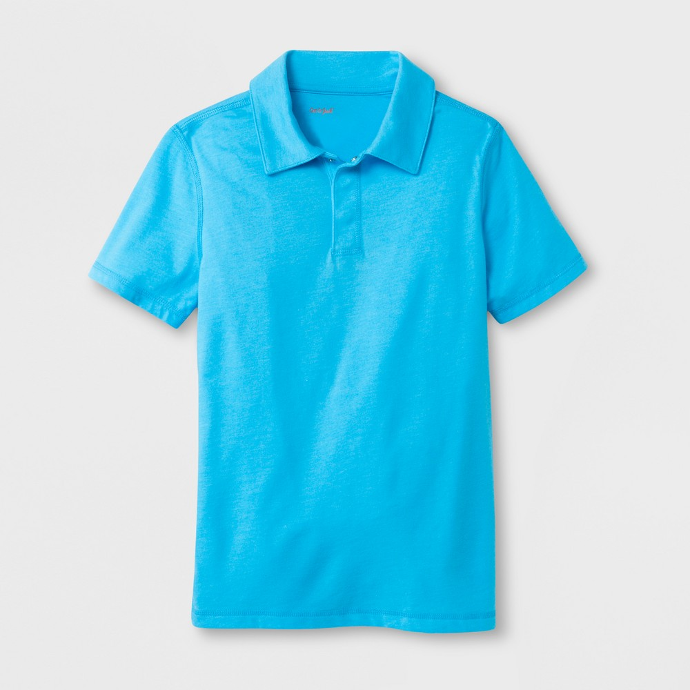 Boys' Adaptive Short Sleeve Polo Shirt - Cat & Jack Blue L