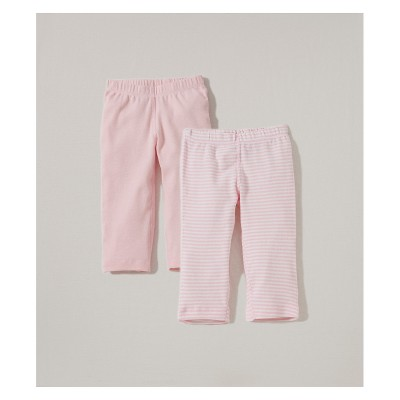 Burt's Bees Baby® Girls' Organic Cotton 2pk Pants Solid/Stripes - Blossom 0-3M