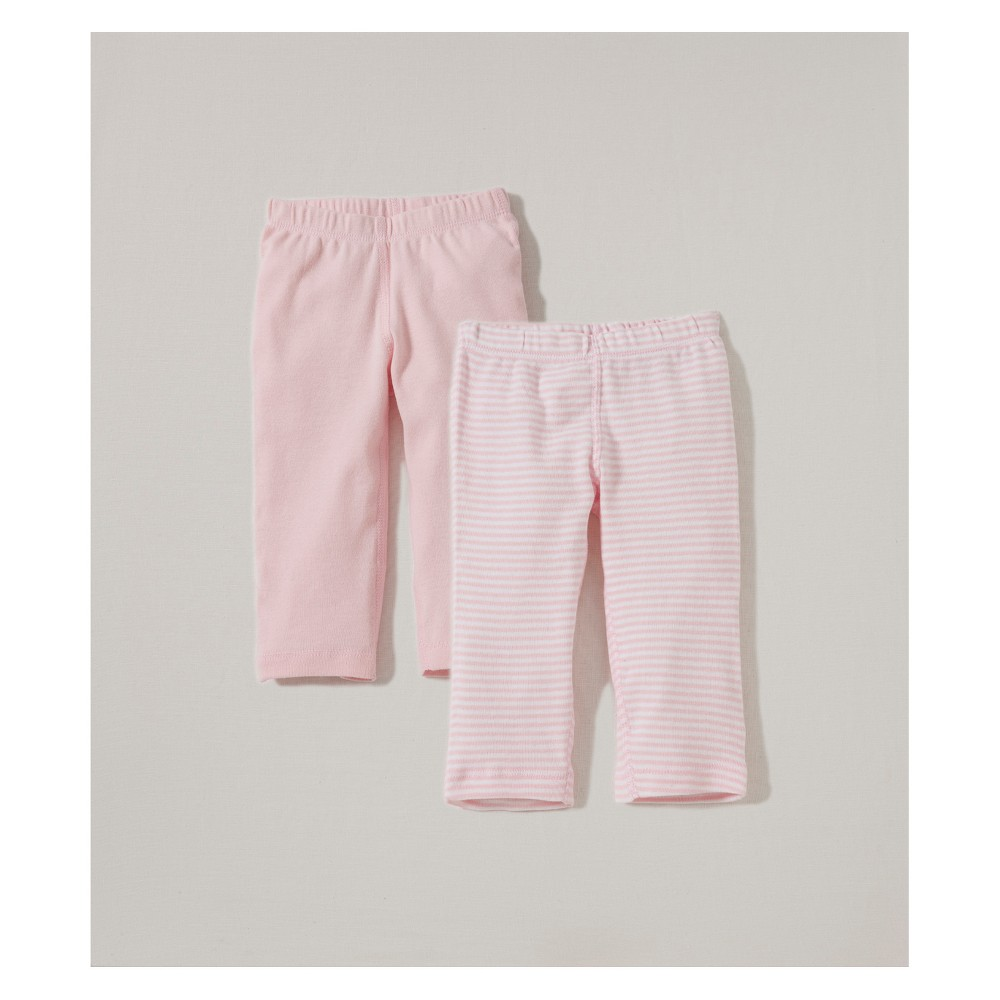 Burt's Bees Baby Girls' Organic Cotton 2pk Pants Solid/Stripes - Blossom 6-9M, Pink