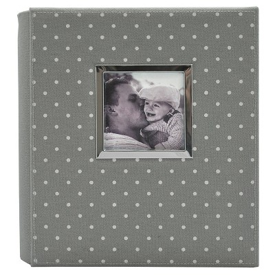 Polka Dot Photo Album Gray/White - Holds Two 4 x6  Photos per Page