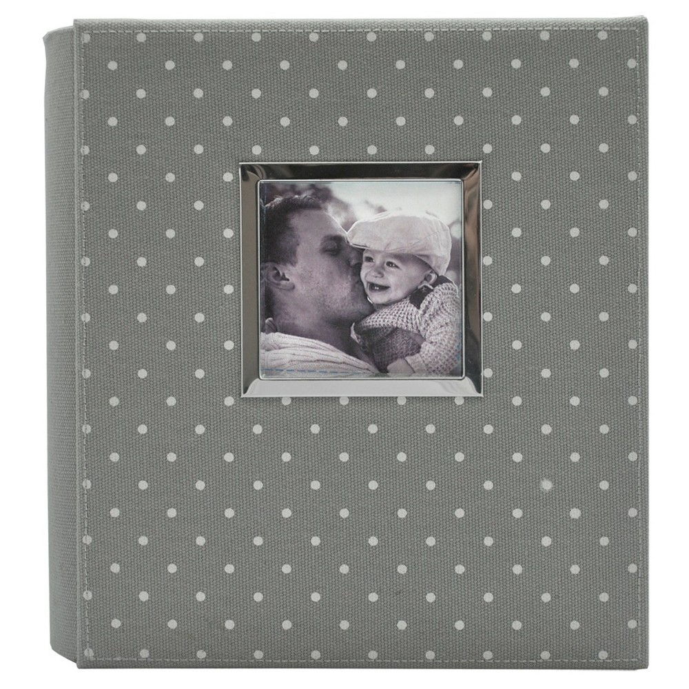 "Image of ""Polka Dot Photo Album Gray/White - Holds Two 4""""x6"""" Photos per Page"""