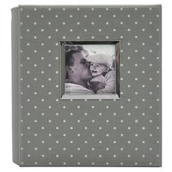 """Polka Dot Photo Album Gray/White - Holds Two 4""""x6"""" Photos per Page"""