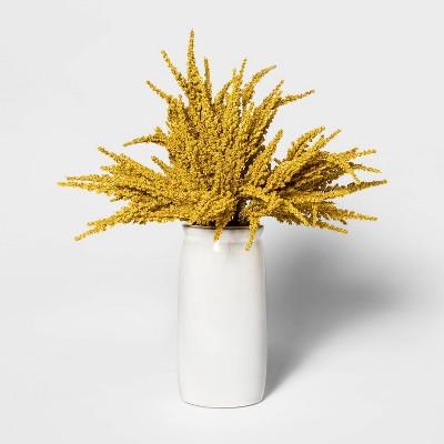 16.5  x 10  Artificial Goldenrod Arrangement in Ceramic Pot Yellow/White - Threshold™