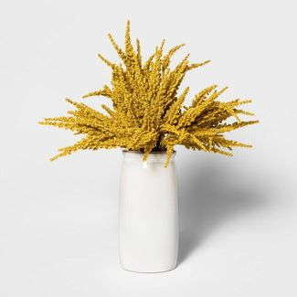 "16.5"" x 10"" Artificial Goldenrod Arrangement in Ceramic Pot Yellow/White - Threshold™"