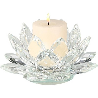 """Dahlia Studios Clear Crystal 8 3/4"""" Wide Lotus Candle Holder"""