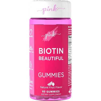 Pink Biotin Beautiful Gummies - Natural Fruit - 60ct