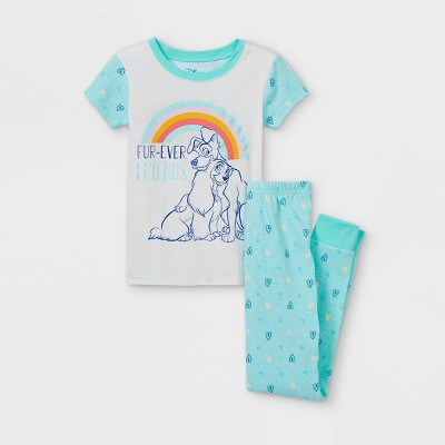 Girls' Disney Lady & The Tramp Fur-Ever Friends 2pc Pajama Set - Blue - Disney Store