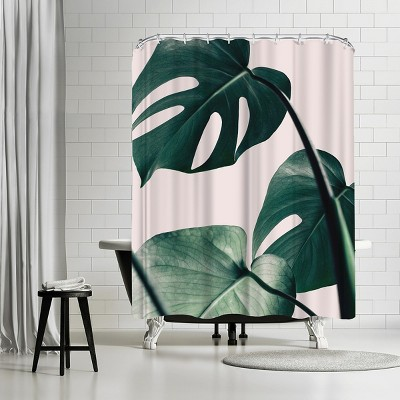 """Americanflat Monstera Pink by Nuada 71"""" x 74"""" Shower Curtain"""