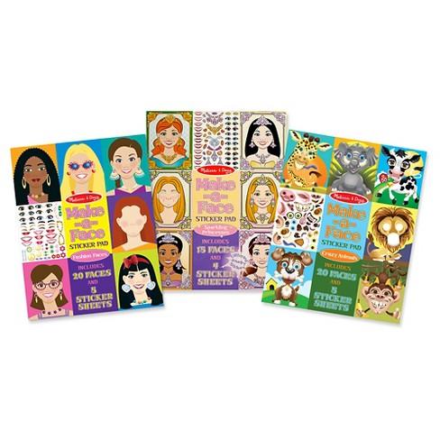 Melissa Doug Make A Face Sticker Pads Set Fashion Faces Sparkling Princesses Crazy Animals Target
