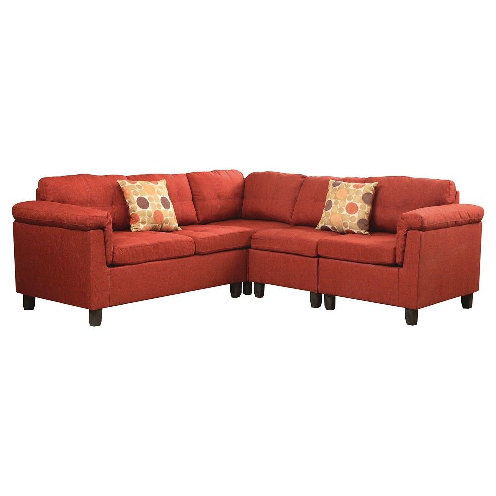 Acme Cleavon Reversible Sectional Sofa with 2 Pillows, Red Linen