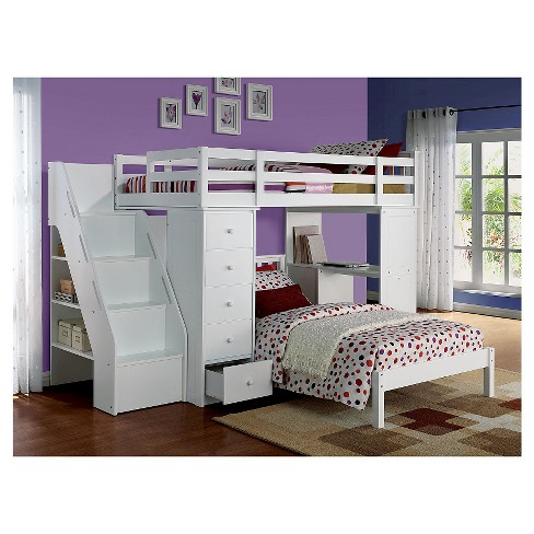 Freya Kids Loft Bed With Bookcase White Twin Acme Target