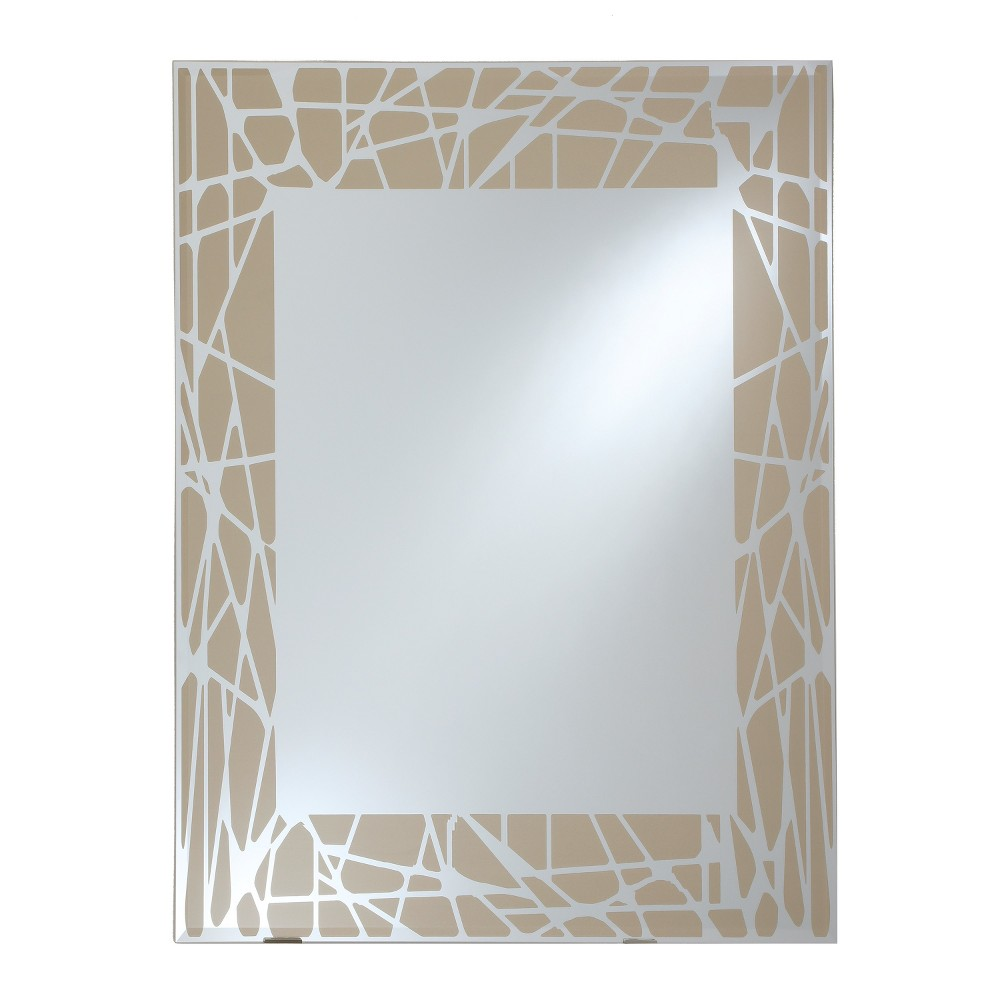 Rectangle Beveled Frameless Wall Mirror with Silk Screened Pattern Embedded Border Champagne 24