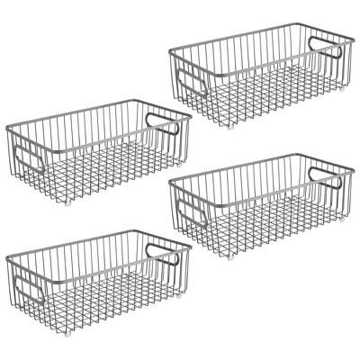 mDesign Metal Kitchen Pantry Food Storage Basket, 4 Pack