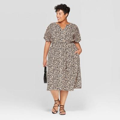 Women's Plus Size Printed Shirtdress   Ava &Amp; Viv Brown by Ava & Viv Brown