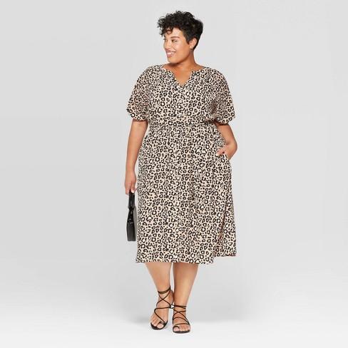 Women\'s Plus Size Leopard Print Short Sleeve Scoop Neck Shirtdress - Ava &  Viv™ Brown