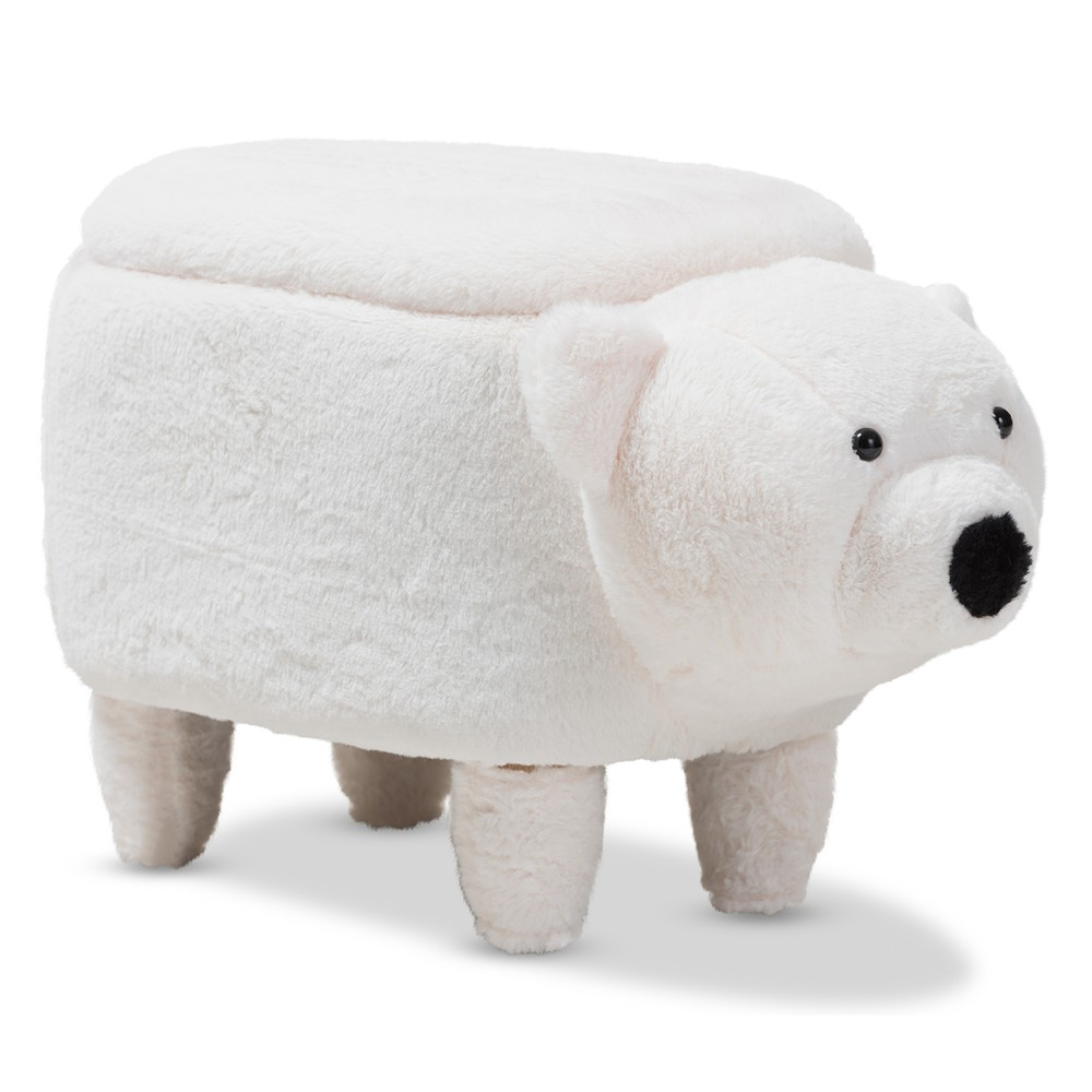 Baxton Studio Bjorn Contemporary Wool Upholstered Bear Storage Ottoman White