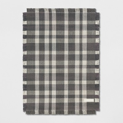 5'X7' Plaid Woven Area Rugs Gray - Threshold™
