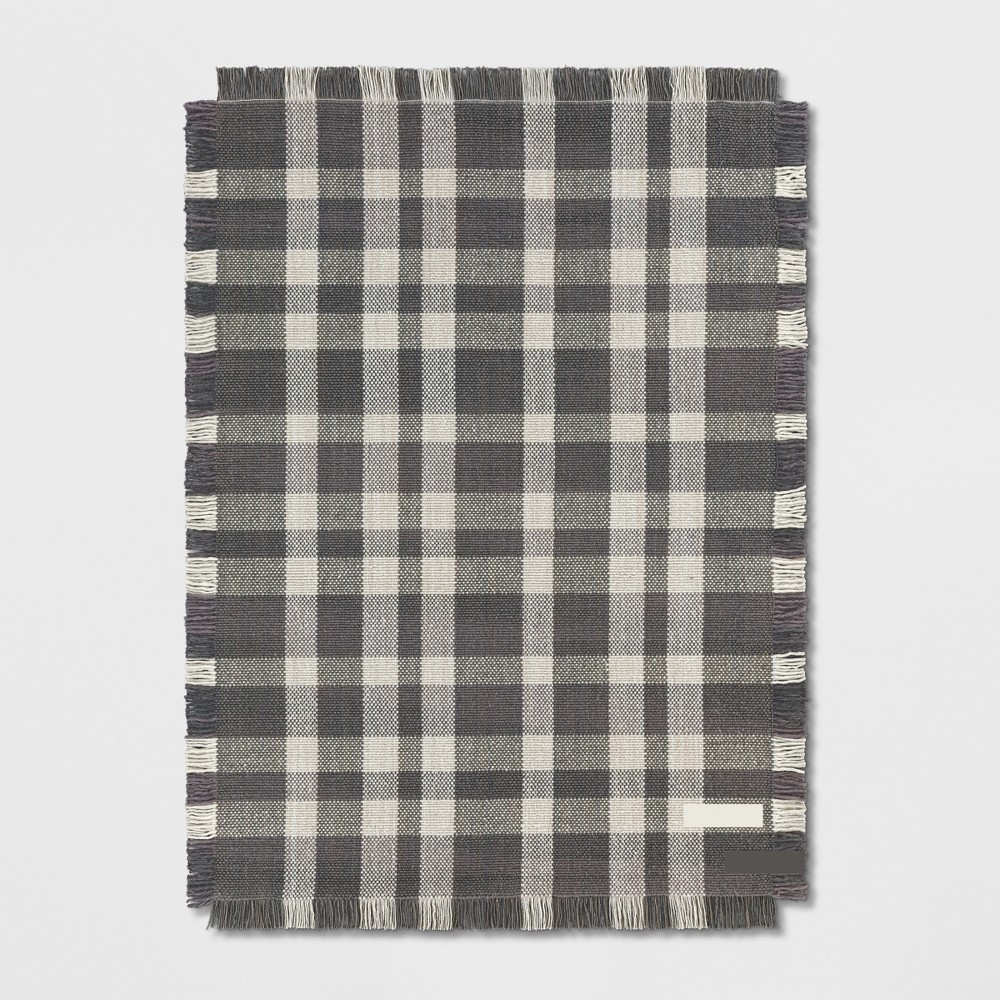 5'X7' Plaid Woven Area Rug Gray - Threshold was $199.99 now $159.99 (20.0% off)