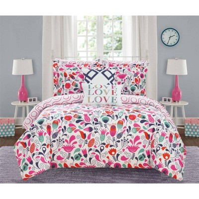 7pc Twin Audley Bed In A Bag Comforter Set Pink - Chic Home Design