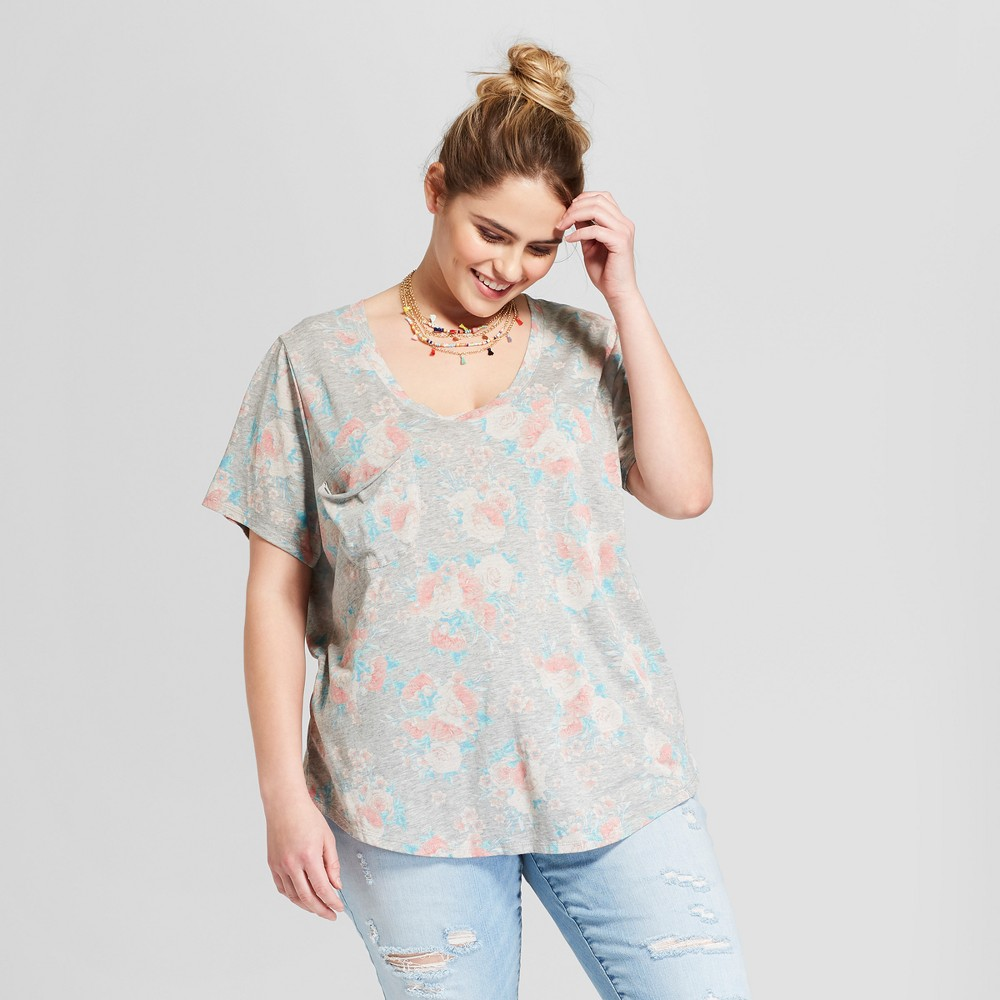 Women's Plus Size Floral Printed Short Sleeve Drapey Pocket T-Shirt - Grayson Threads (Juniors') - Heather Gray 2X