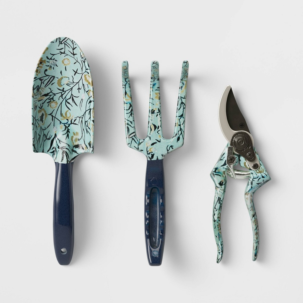 Image of 3pc Short Handled Tool Set Blue - Smith & Hawken