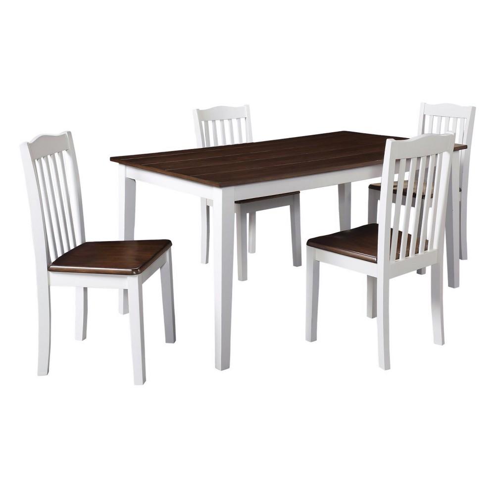 Shiloh 5pc Rustic Dining Set - Creamy White-Rustic Mahogany (Brown) - Dorel Living