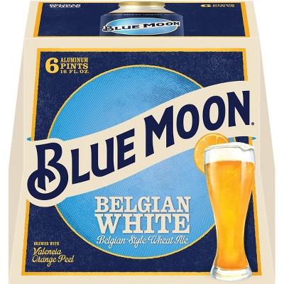 Blue Moon Belgian White Wheat Ale Beer - 6pk/16 fl oz Aluminum Pints