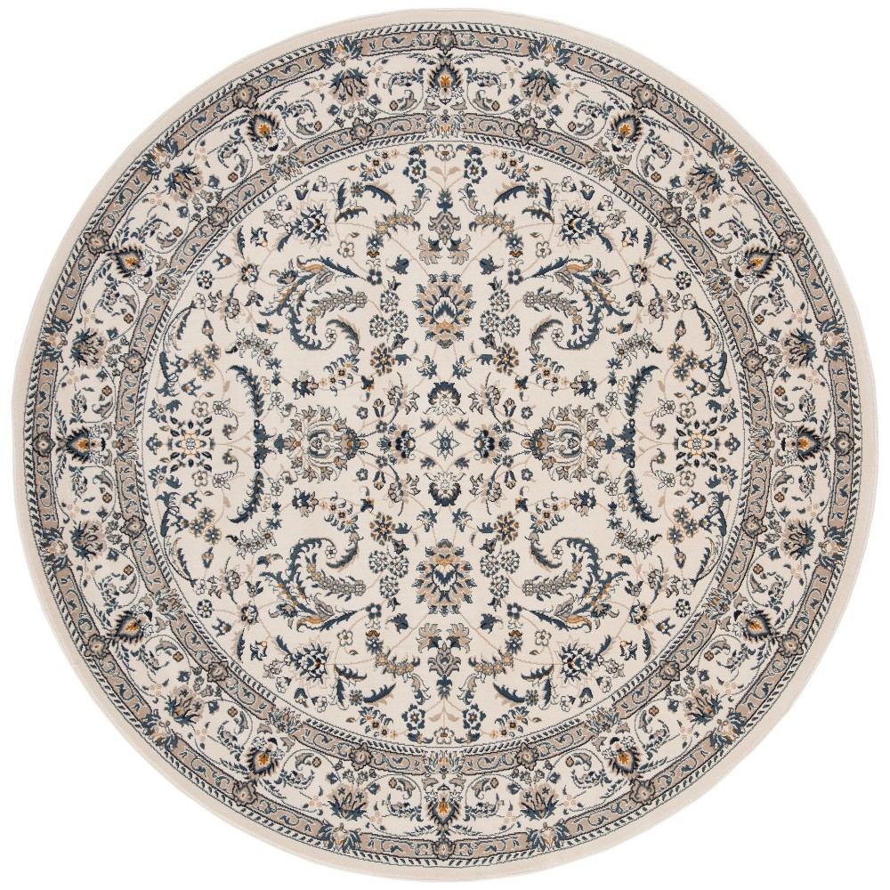 6'7 Floral Loomed Round Area Rug Ivory/Blue - Safavieh, White