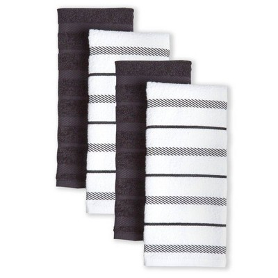 KitchenAid 4pk Albany Strpe Kitchen Towels - Brown/White