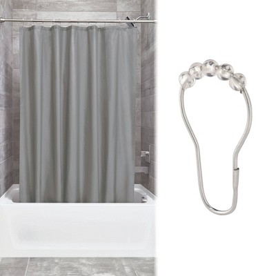 Shower Curtain Liner With Rollerz Dark Gray - iDESIGN