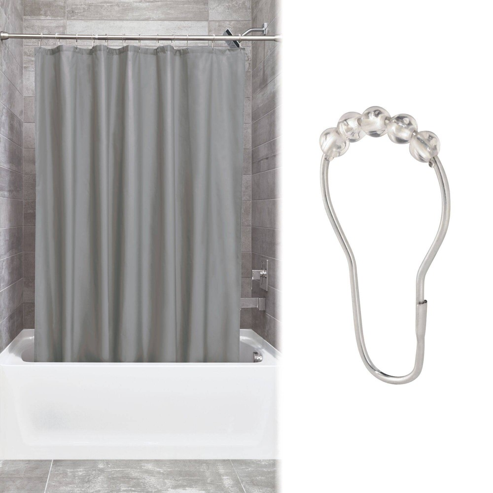 Shower Curtain Liner With Rollerz Gray - iDESIGN