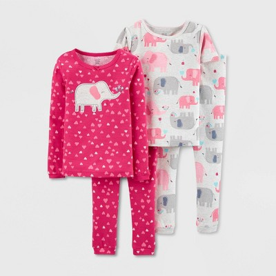 Baby Girls' 4pc Elephant & Hearts 100% Cotton Long Sleeve Pajama Set - Just One You® made by carter's Pink 9M