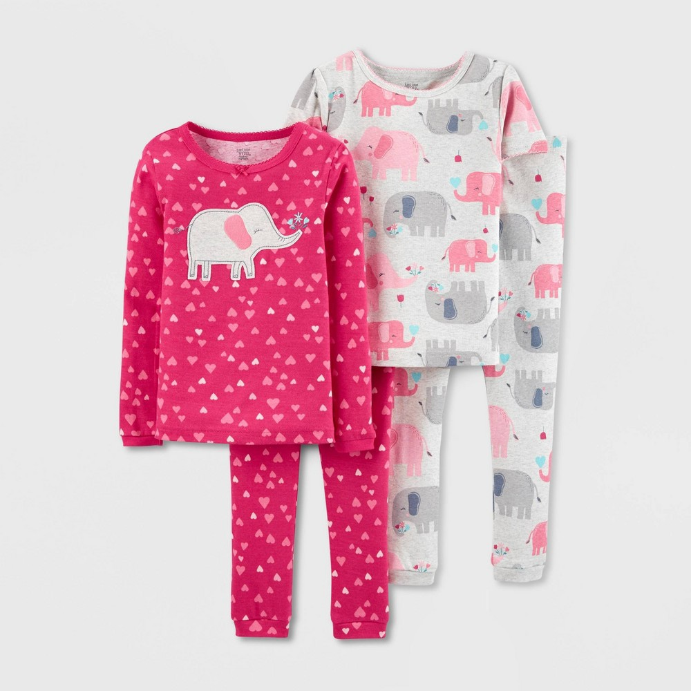 Image of Baby Girls' 4pc Elephant & Hearts 100% Cotton Long Sleeve Pajama Set - Just One You made by carter's Pink 12M, Girl's