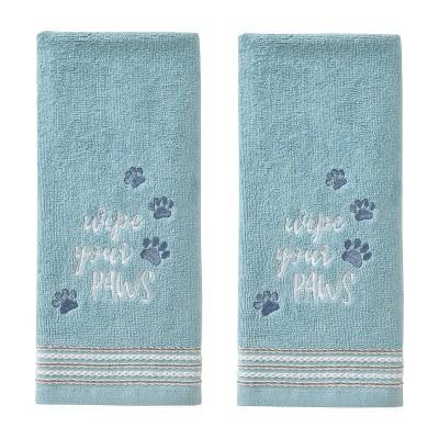 2pk Wipe Your Paws Hand Towel Set Aqua - SKL Home