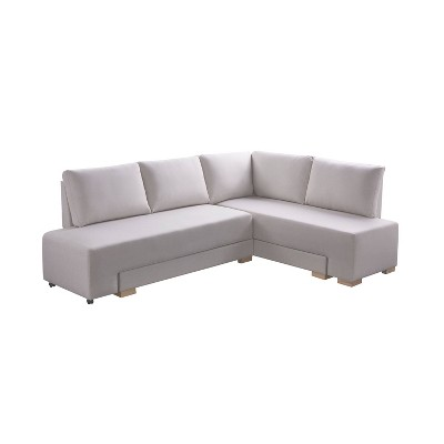 Lester Convertible Sleeper Sectional Sofa Cream - miBasics