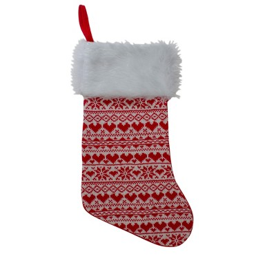 "Northlight 19"" Red and White Hearts With Snowflakes Knit Christmas Stocking Faux Fur Cuff"