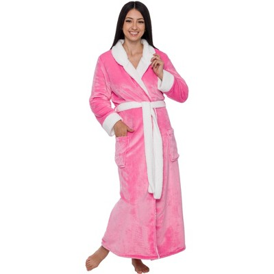 Silver Lilly - Women's Full Length Sherpa Lined Luxury Hooded Bathrobe