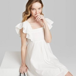 Women's Short Sleeve Woven Dress - Wild Fable™ (Regular & Plus) White