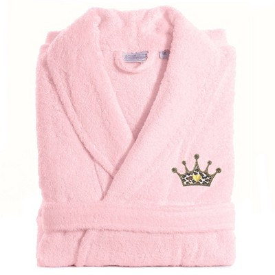 S/M Terry Bathrobe with Cheetah Crown Embroidery Pink - Linum Home Textiles
