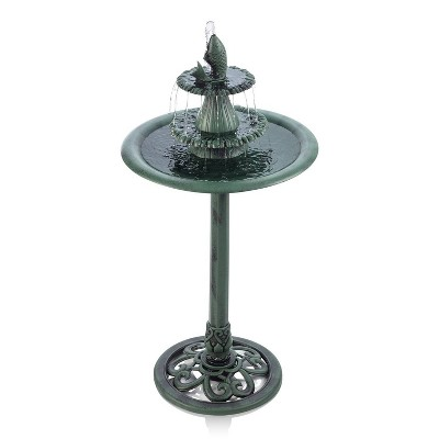 "Alpine 40"" Tiered Pedestal Fountain with Fish Blue"