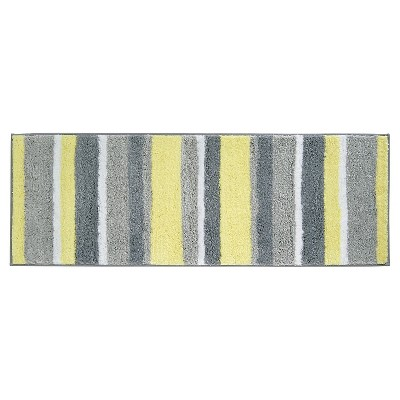 "60""x21"" Striped Bath Rug Gray/Yellow - iDESIGN"
