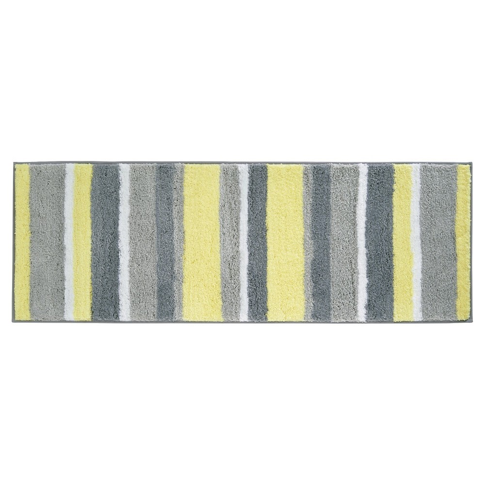 "Image of ""60""""x21"""" Striped Bath Rug Gray/Yellow - iDESIGN"""