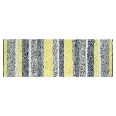 34 x 21-Inch InterDesign Stripz Microfiber Bath Rug Mint//Gray Mint and Gray