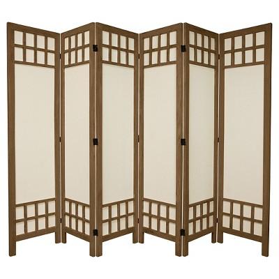 5 1/2 ft. Tall Window Pane Fabric Room Divider - Burnt Gray (6 Panels)