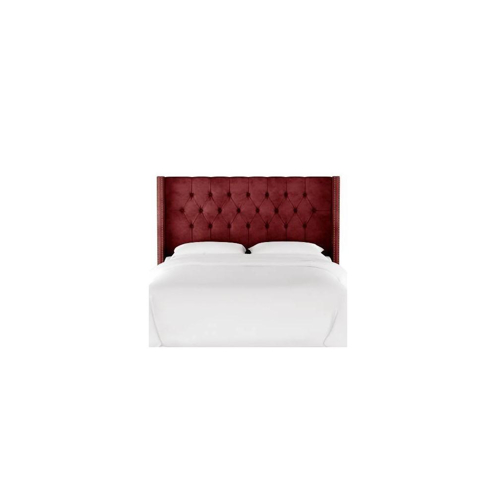 California King Louis Diamond Tufted Wingback Headboard Dark Berry Velvet with Brass Nail Buttons - Skyline Furniture