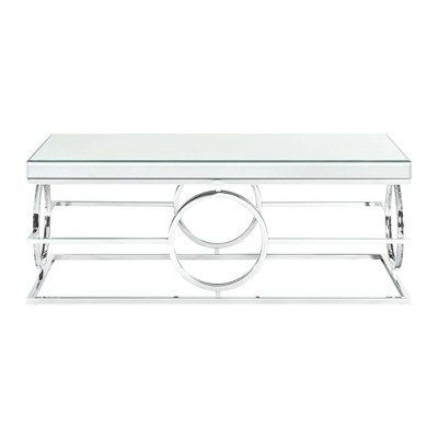 Katie Rectangle Mirrored Coffee Table Chrome - Picket House Furnishings