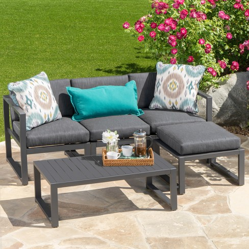 Navan 5pc Aluminum Sofa Set - Dark Gray - Christopher Knight Home - image 1 of 4