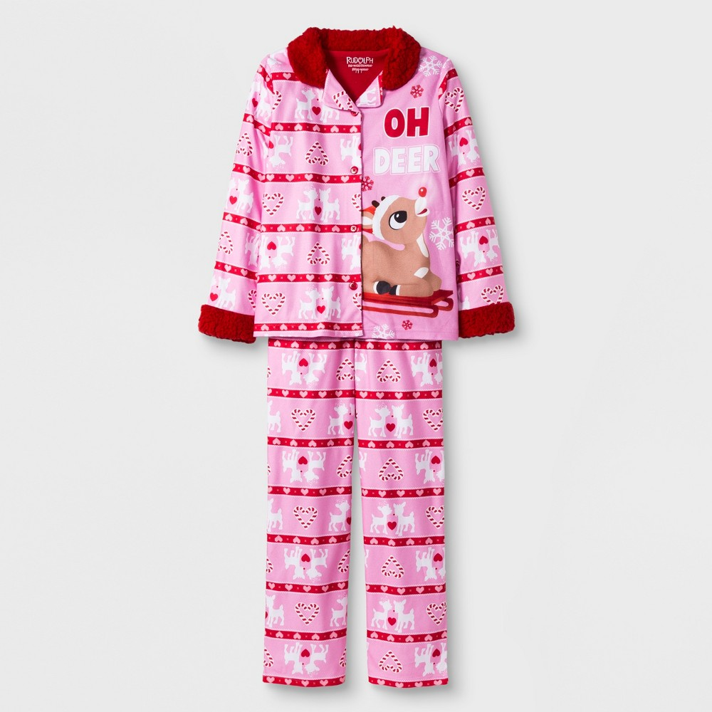 Girls' Rudolph the Red-Nosed Reindeer 2pc Pajama Set - Pink XS